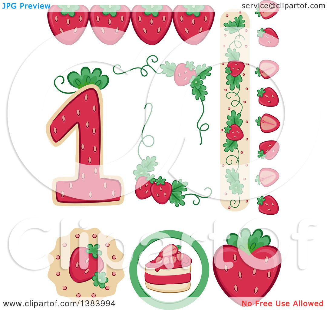 Clipart of Strawberry Themed Birthday Party Design Elements