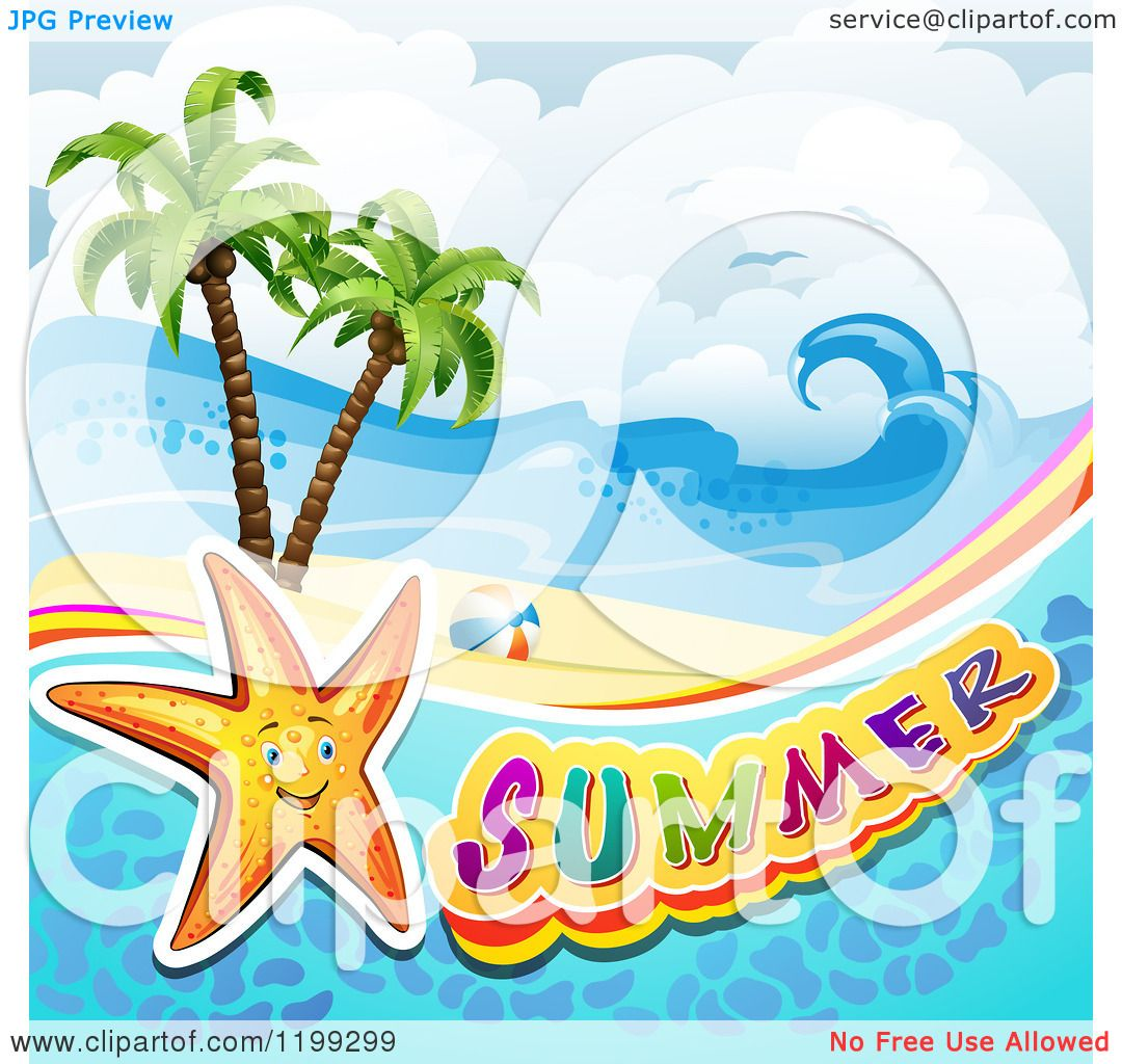 Beautiful Vintage Summer Seaside Illustration Royalty Free: Clipart Of Summer Text With A Starfish In Water Over A