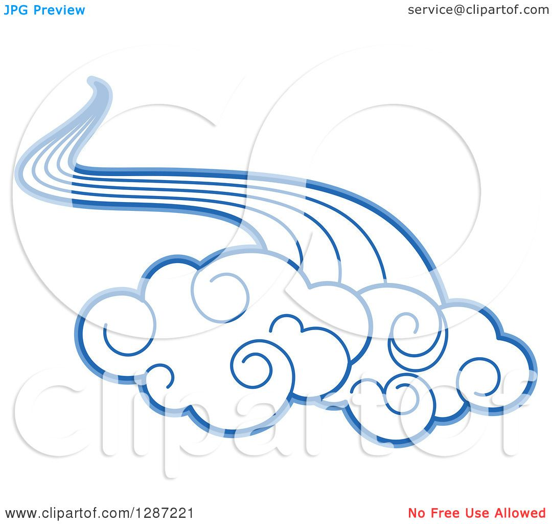 Clipart of swirly blue clouds and wind 2 royalty free - Clipart illustration ...