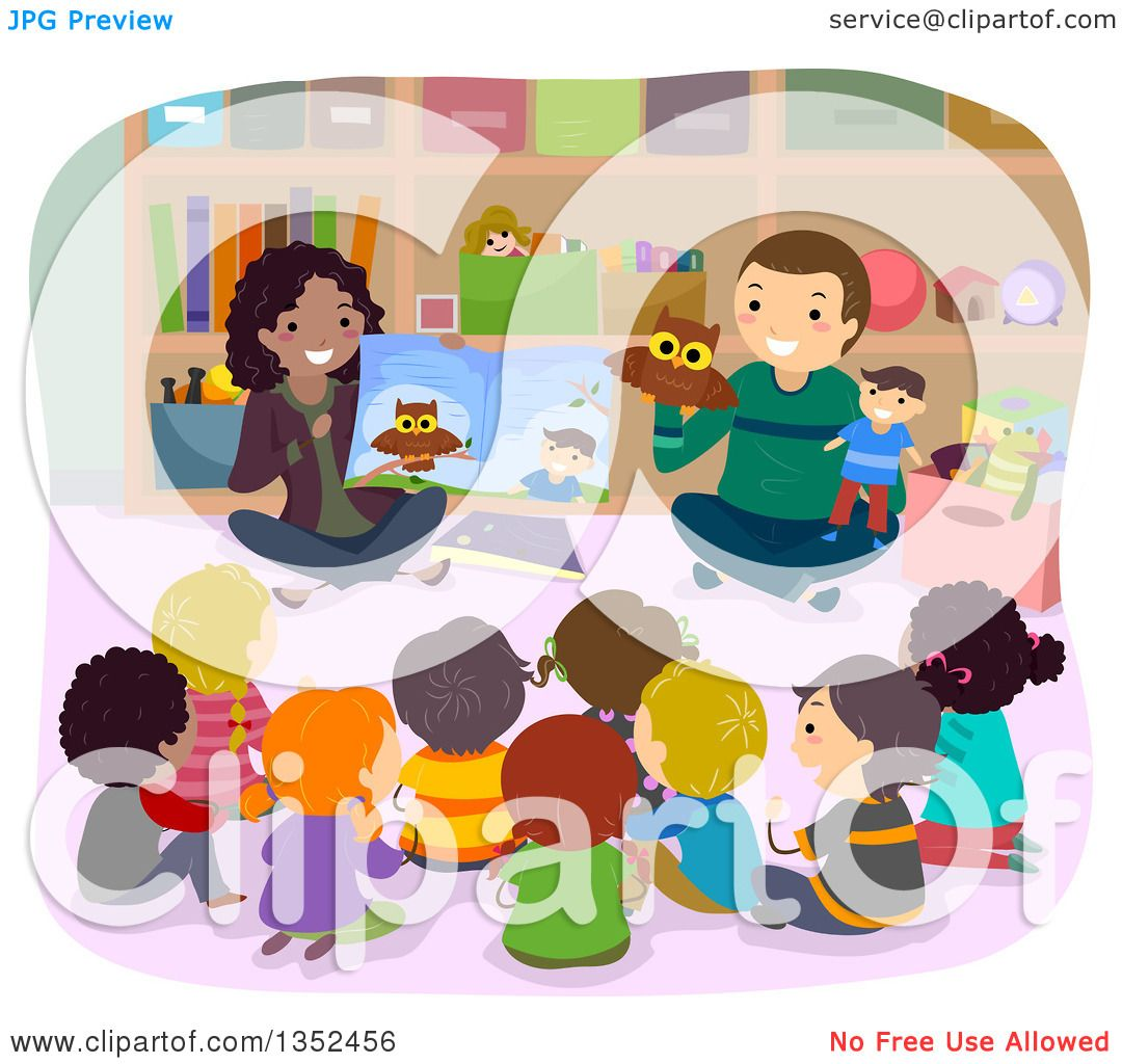 clipart of teachers reading a book with puppets and students
