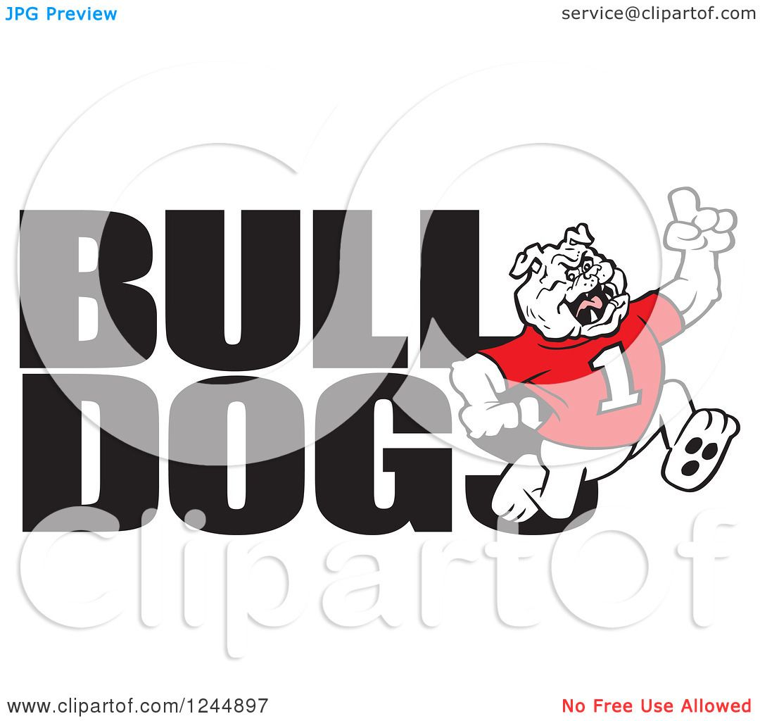 clipart of text and a running victorious bulldog royalty free