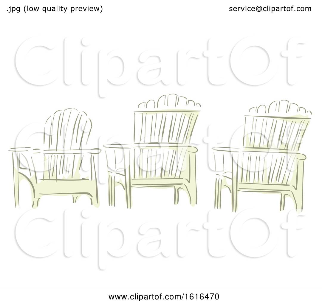 Clipart of Three Adirondack Chairs in Watercolor Style ...