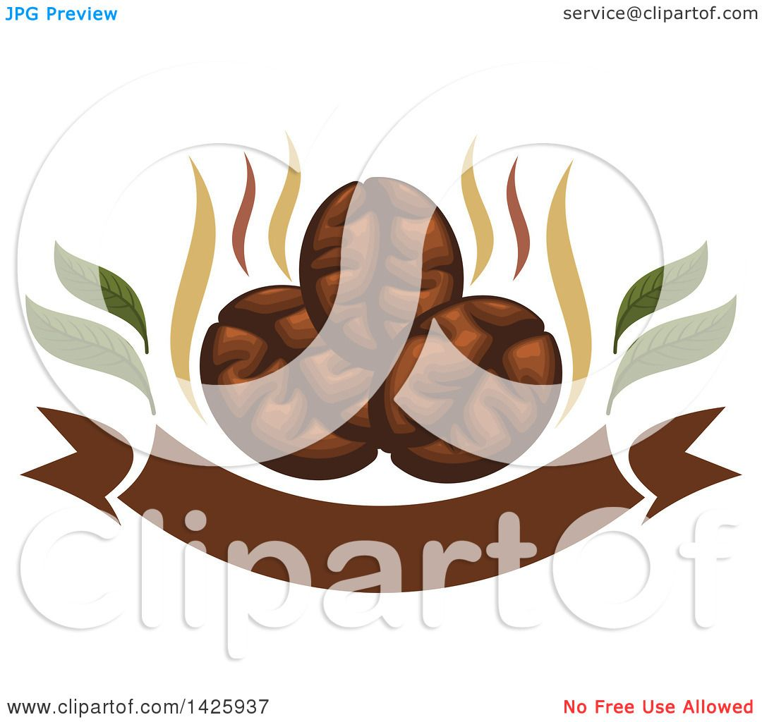Clipart Of Three Coffee Beans With Steam Over A Banner