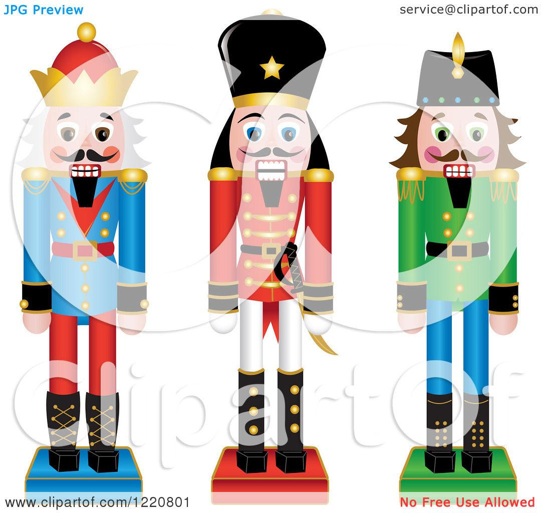 clipart of three wooden christmas nutcrackers royalty free vector rh clipartof com  free clipart nutcracker ballet