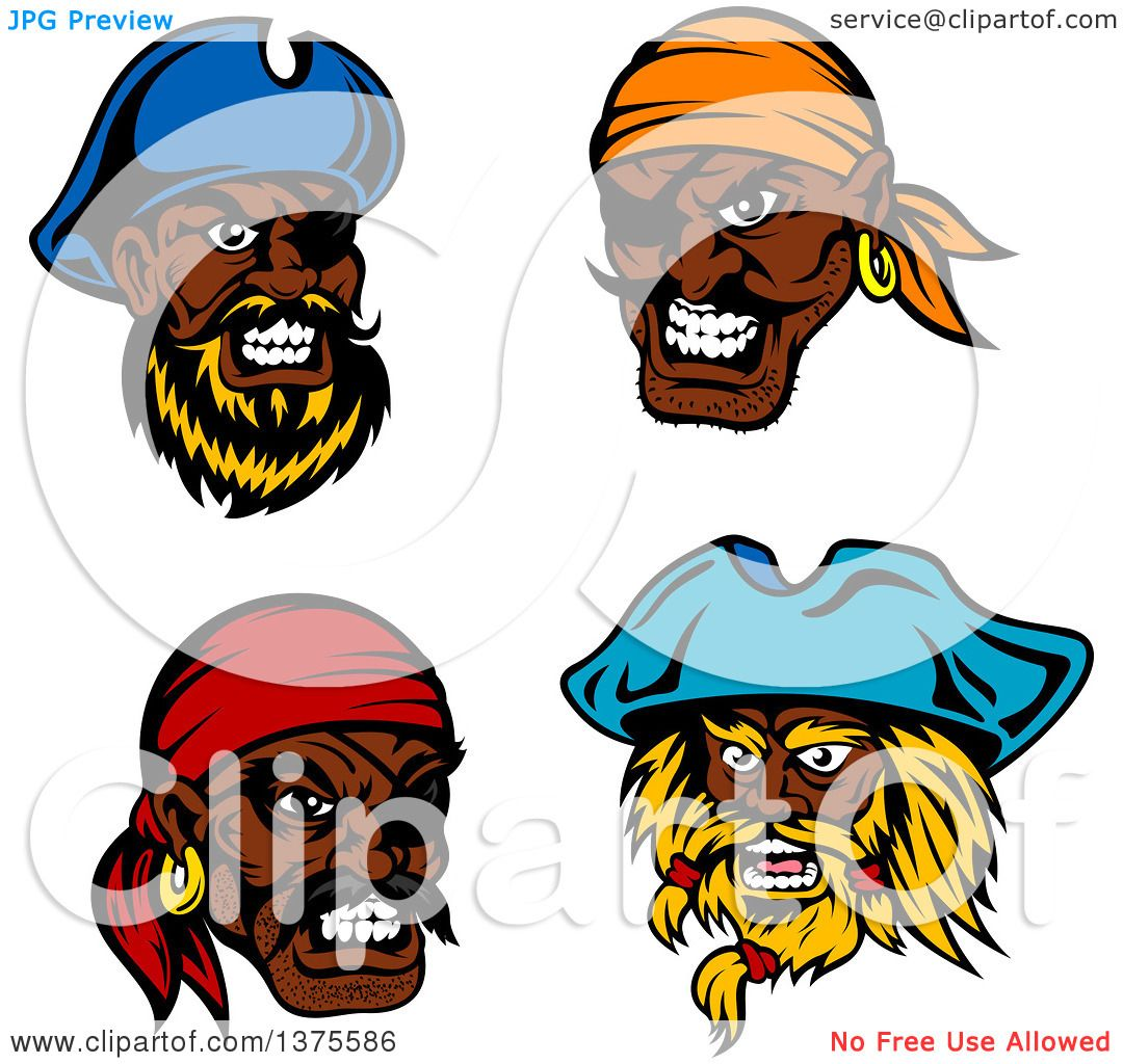 Uncategorized Pirate Faces clipart of tough black male pirate faces royalty free vector illustration by tradition sm
