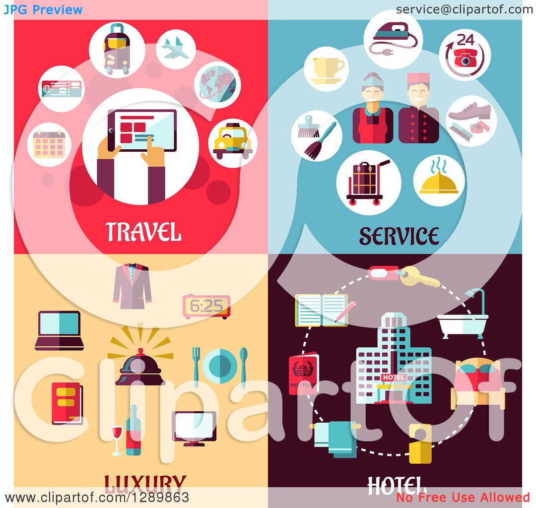 Clipart Of Travel Service Luxury And Hotel Designs