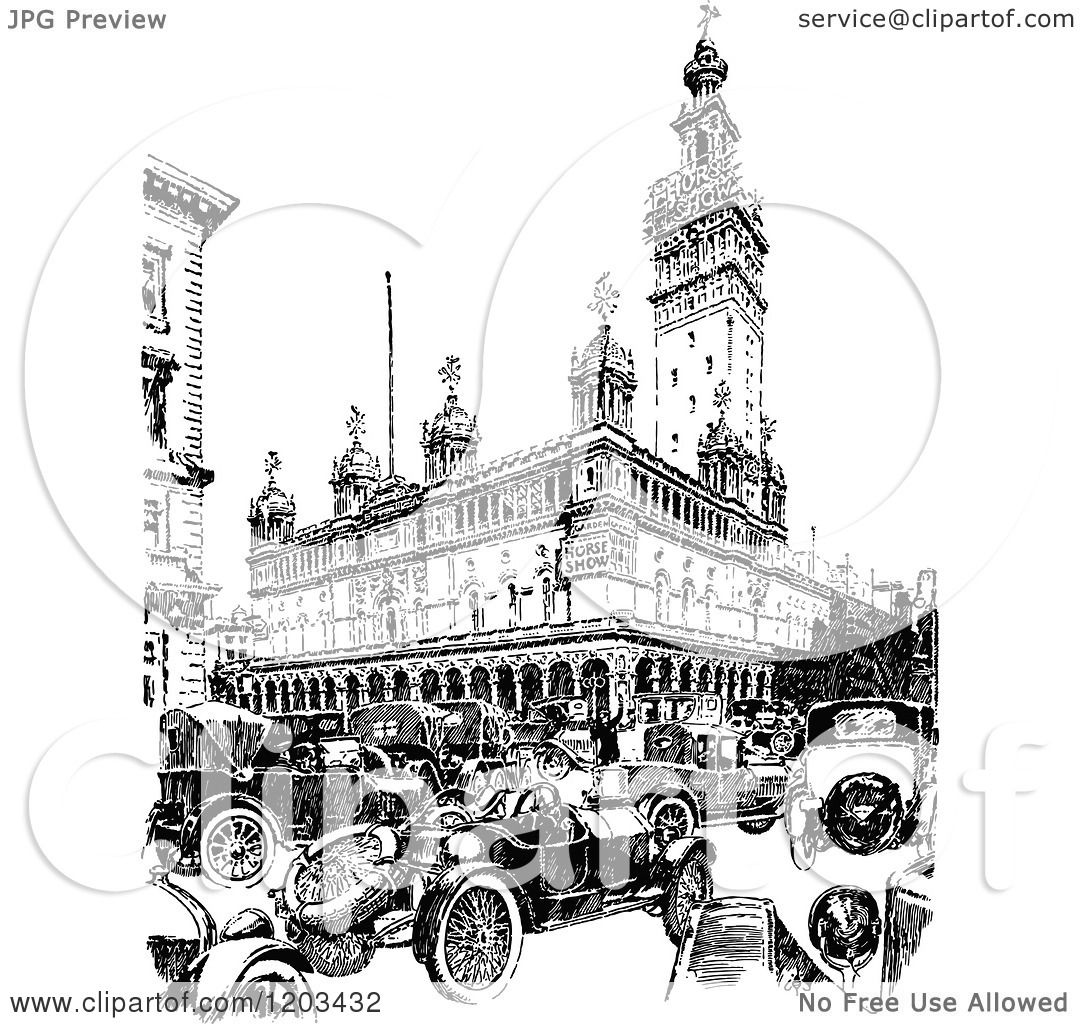Clipart Of Vintage Black And White Madison Square Garden