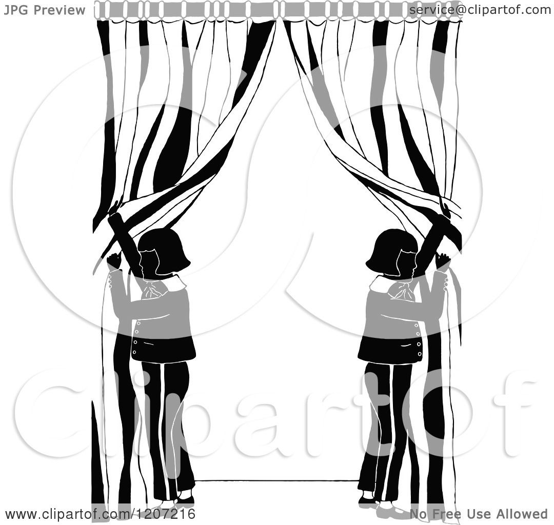 Black and white stage curtain - Clipart Of Vintage Black And White People Opening Stage Curtains Royalty Free Vector Illustration By Prawny Vintage