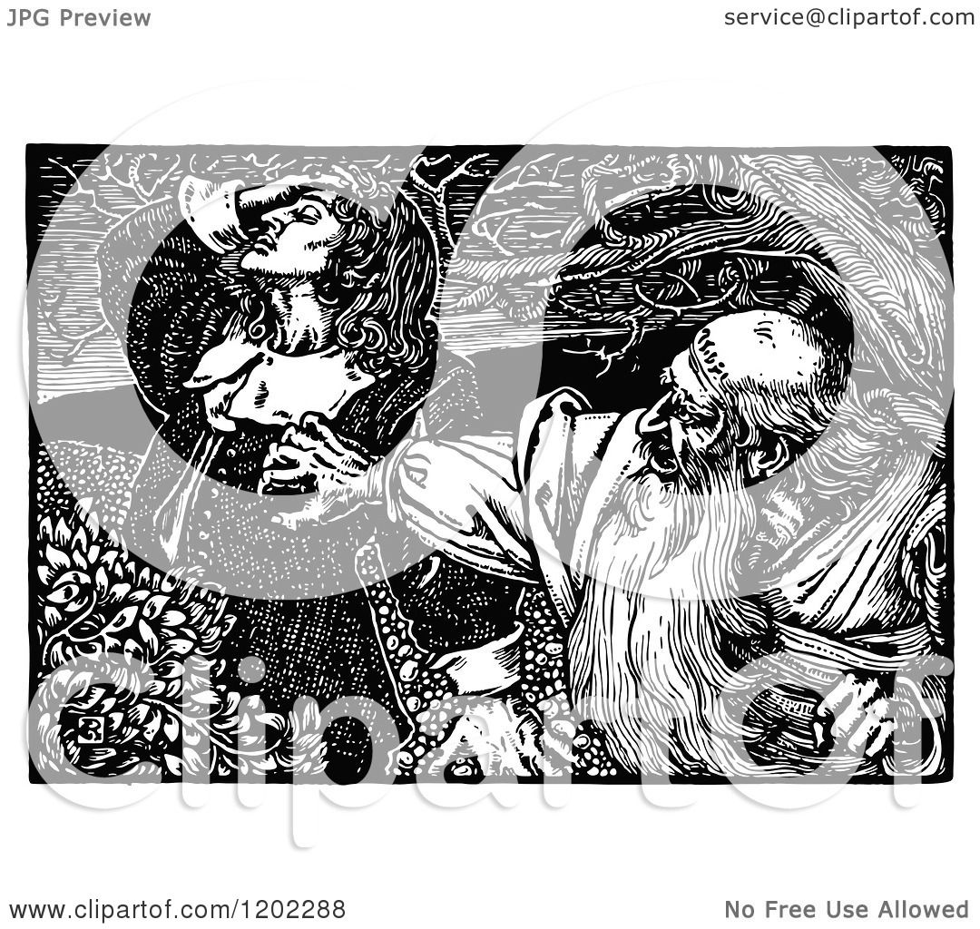 Clipart of Vintage Black and White Pilgrims Progress ...