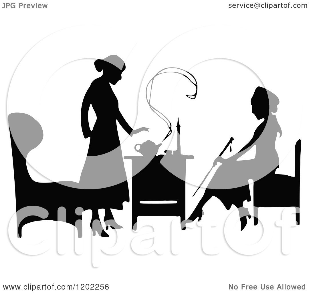 Clipart Of Vintage Black And White Silhouetted Ladies
