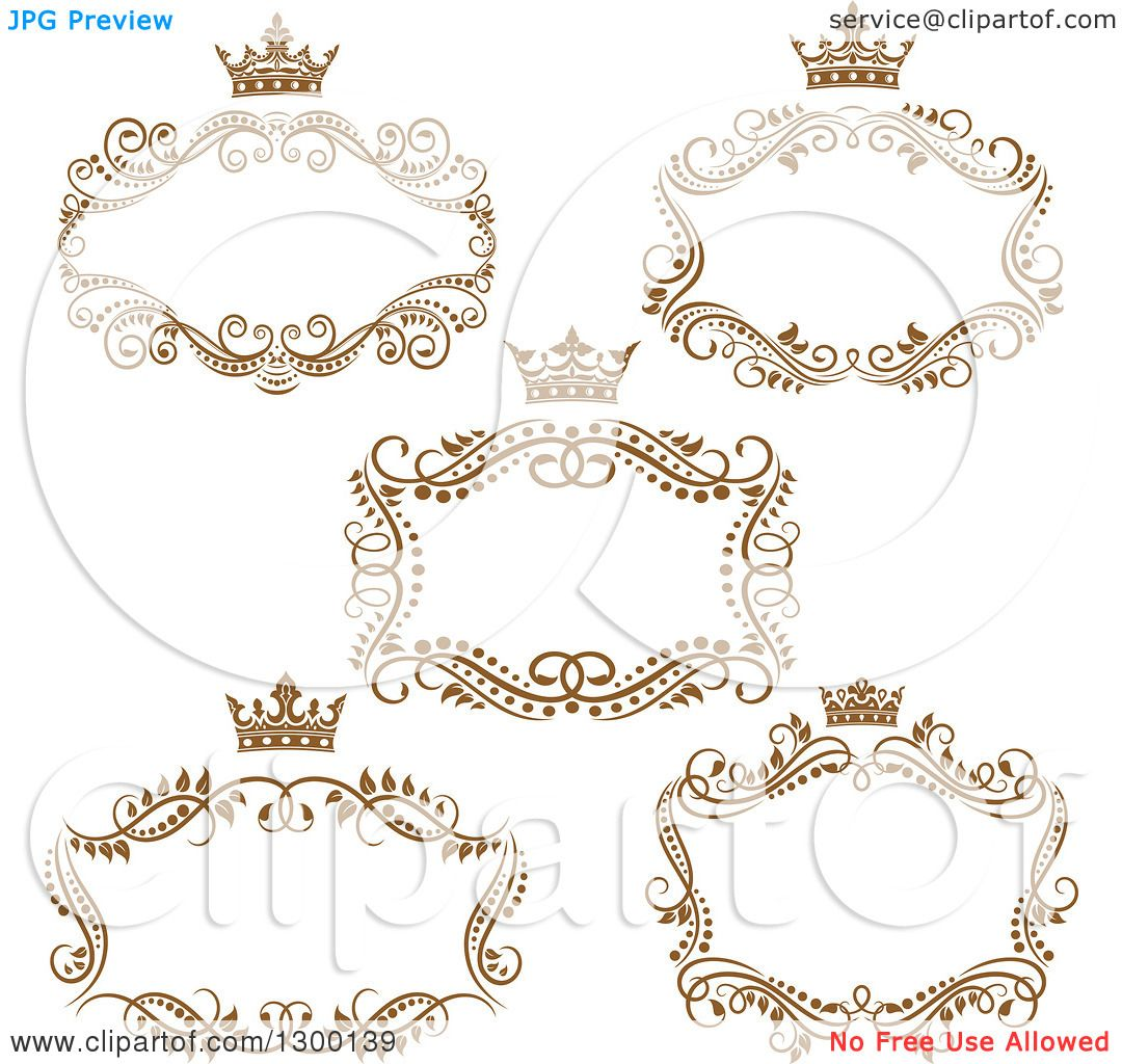 Clipart of Vintage Brown Swirl Floral Wedding Frames with Crowns ...