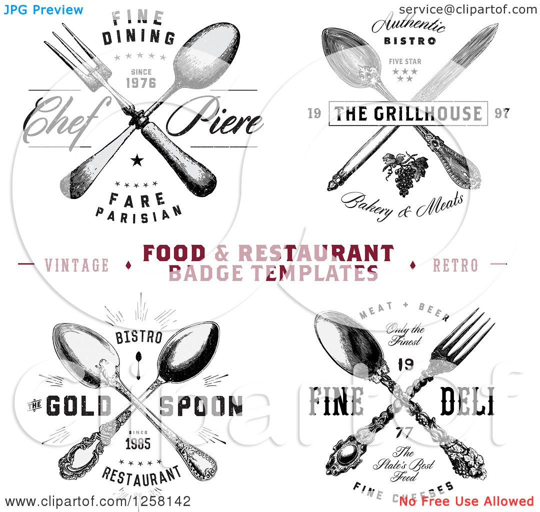 Clipart of Vintage Crossed Silverware Restaurant Designs with ...