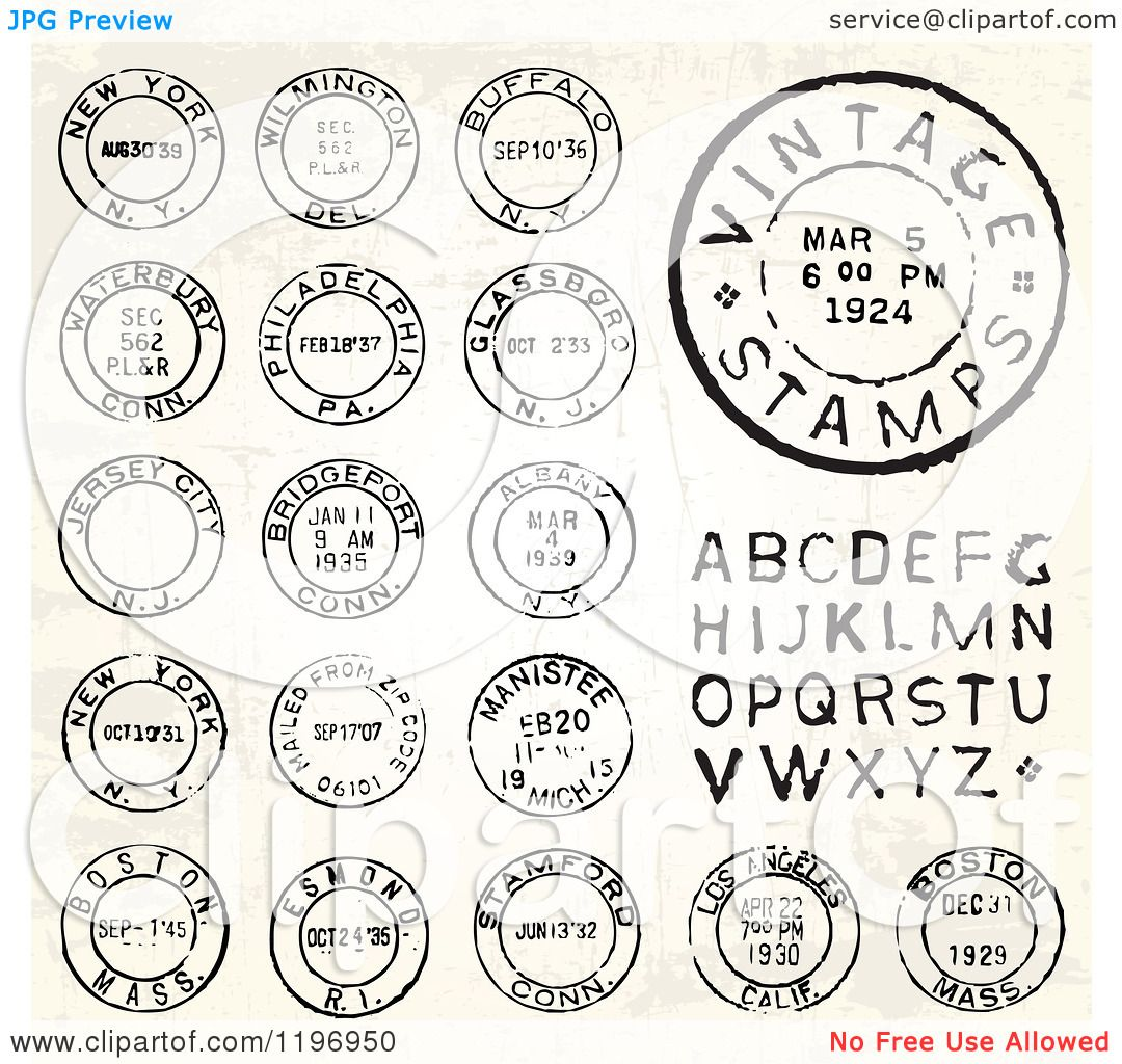 Clipart Of Vintage Postmark Stamps And Letters Royalty
