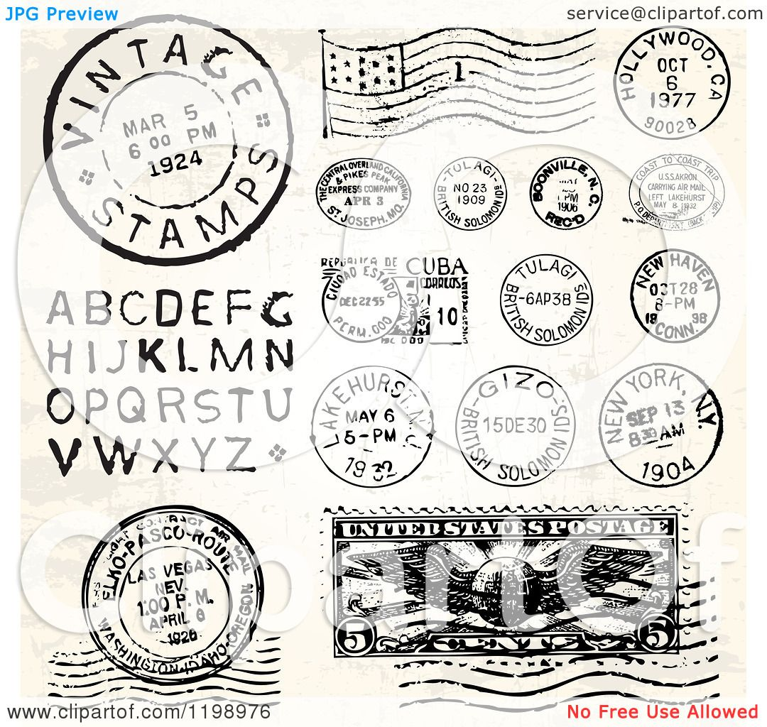 Clipart Of Vintage Postmark Stamps And Letters