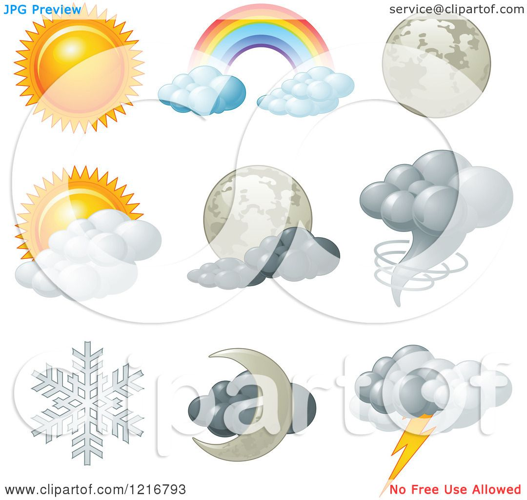 clipart of weather icons for different conditions royalty free