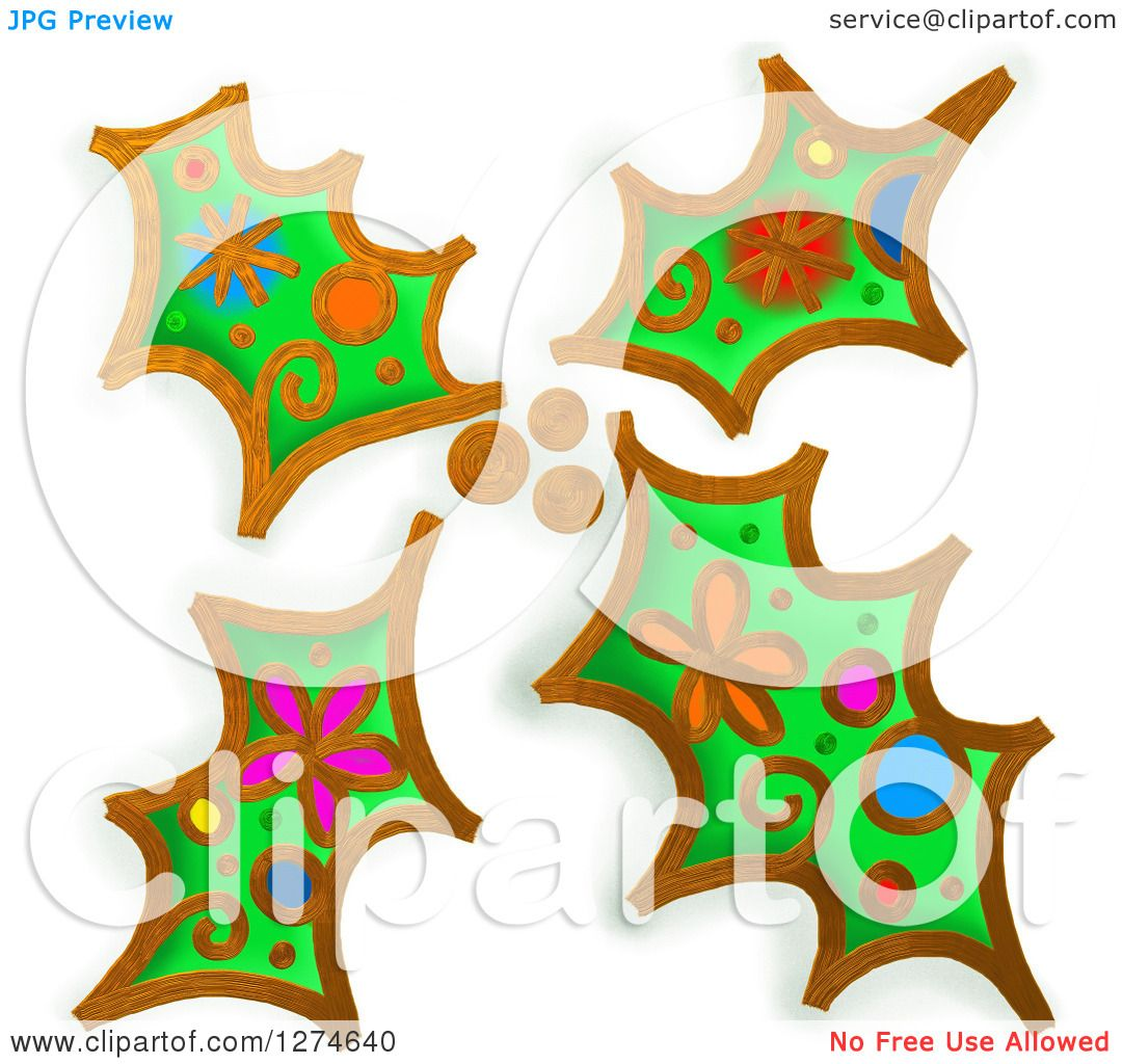 Christmas Holly Clip Art.Clipart Of Whimsical Christmas Holly Leaves Royalty Free