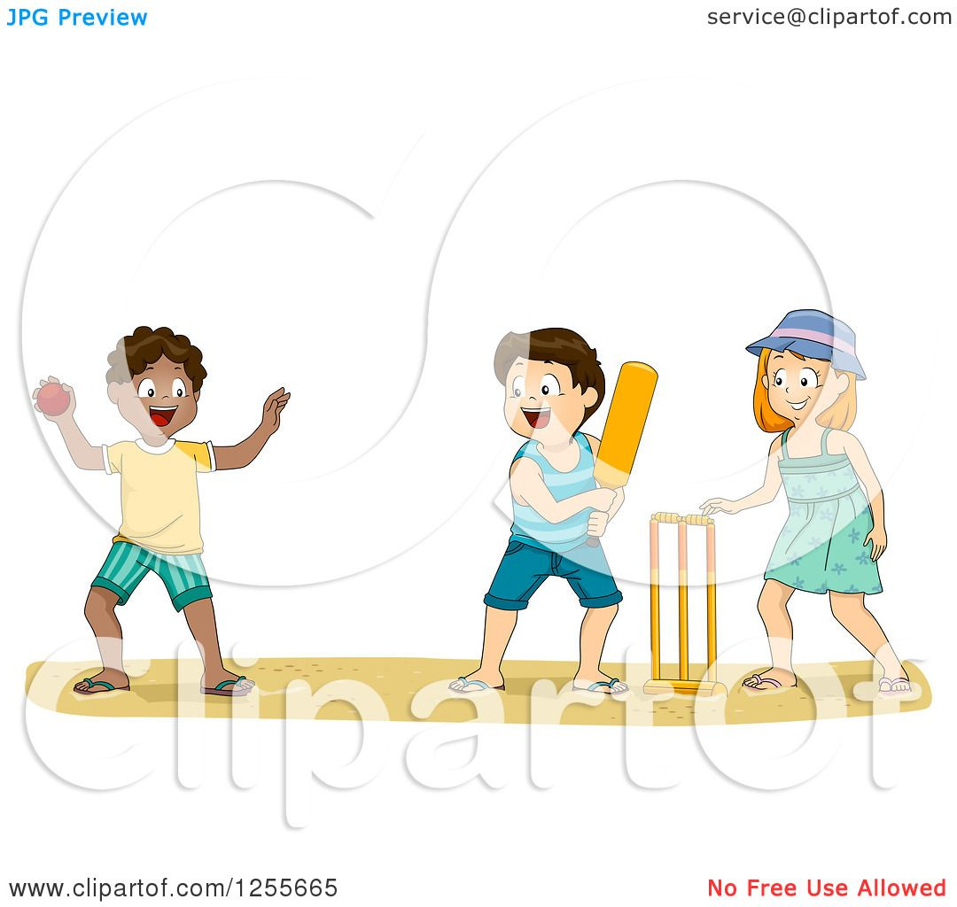 Clipart of White and Black Children Playing Cricket on a ...
