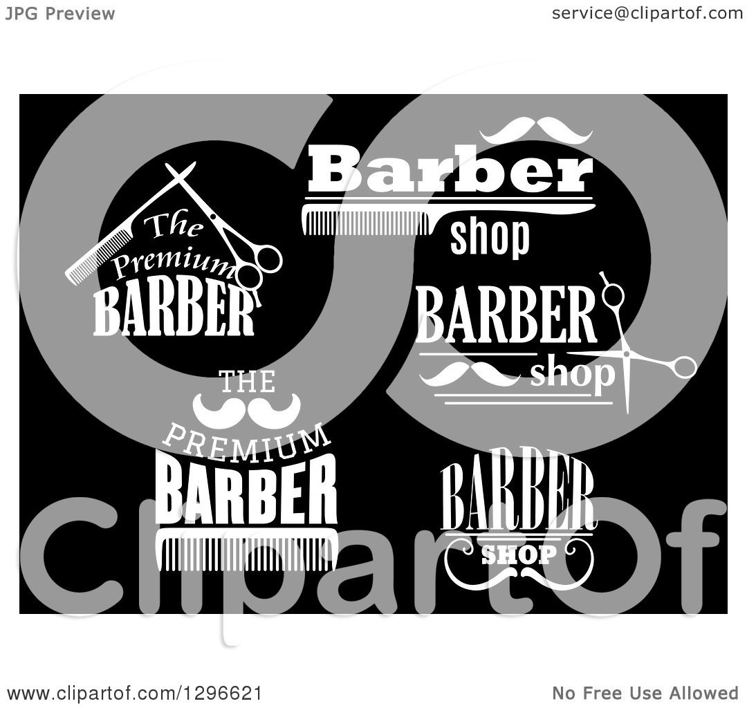 Clipart of White Barber Shop Designs on Black - Royalty Free ...