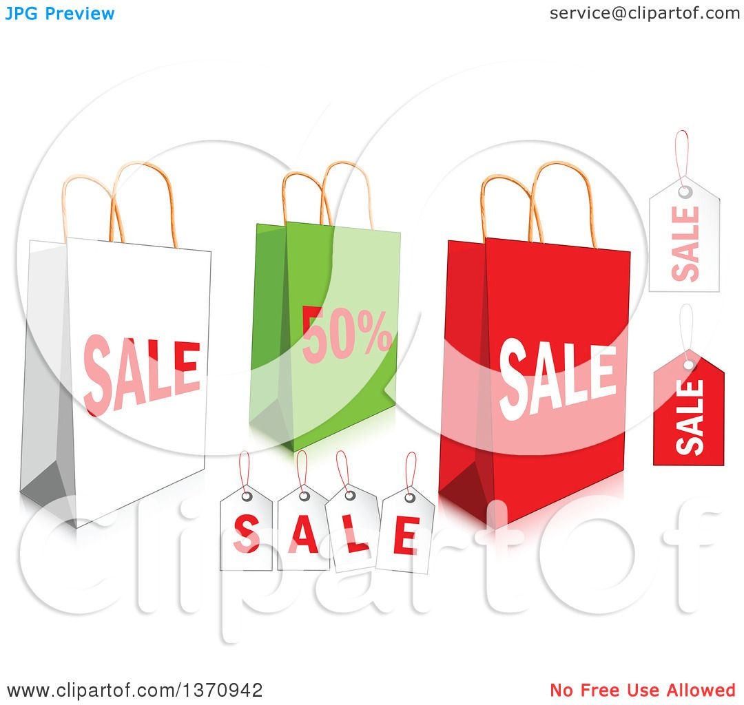 Clipart of White, Green and Red Retail Shopping Bags and Tags ...