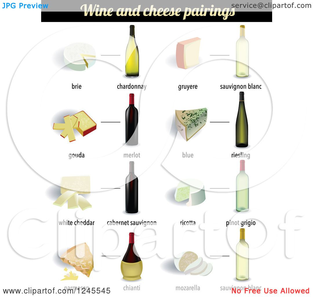 Clipart of Wine and Cheese Pairings - Royalty Free Vector ...