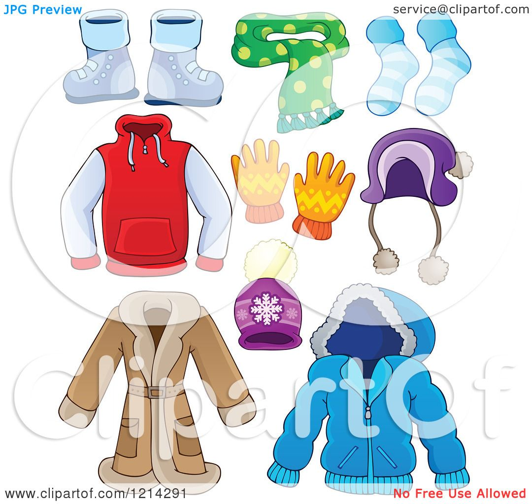 Clipart of Winter Clothing Apparel and Accessories ...