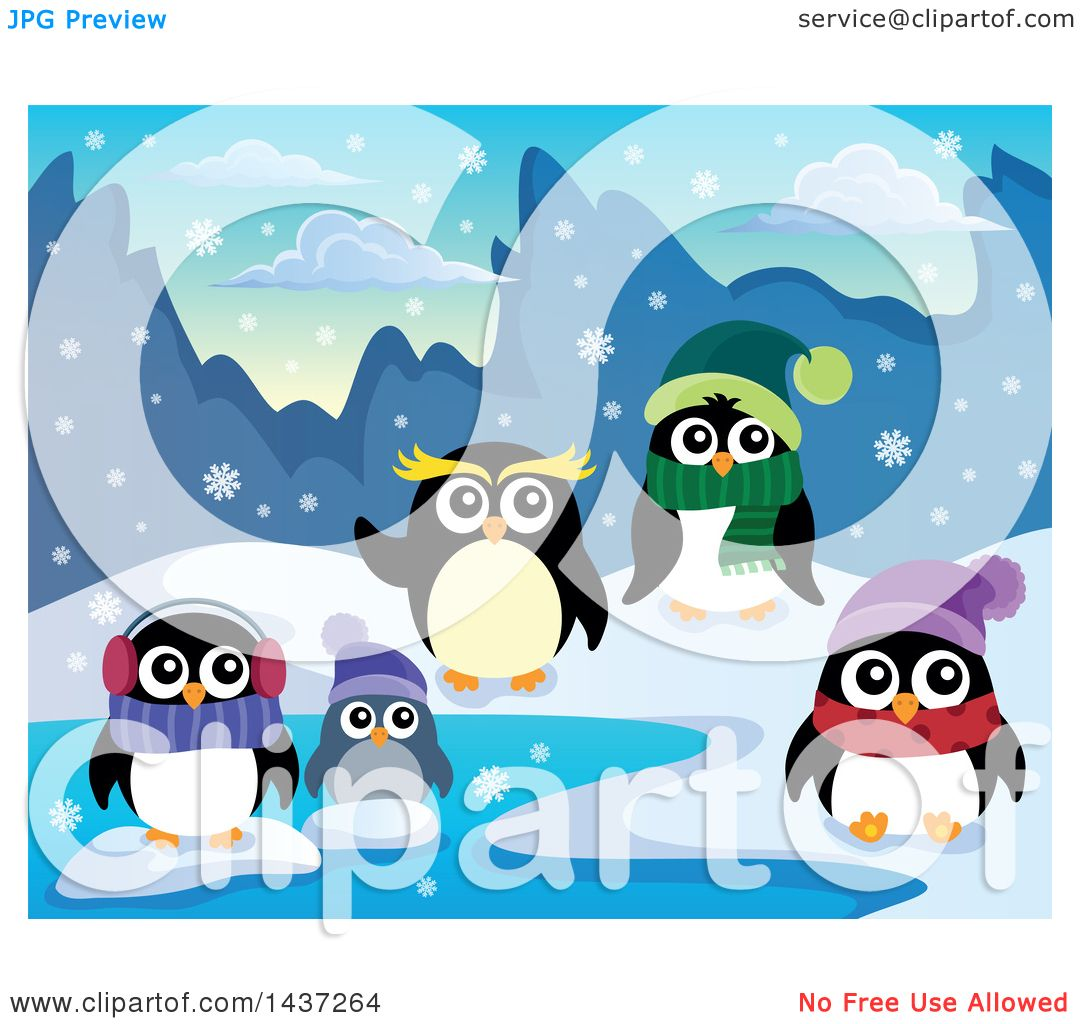 Clipart of Winter Penguins on a Beach - Royalty Free ...