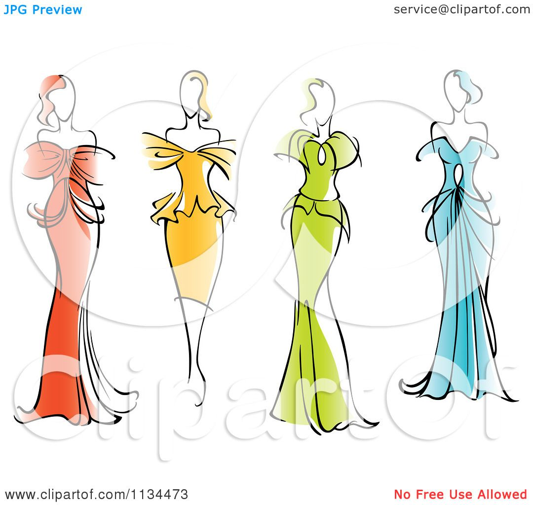 Clipart Of Women In Gorgeous Gowns And Dresses Royalty Free Vector