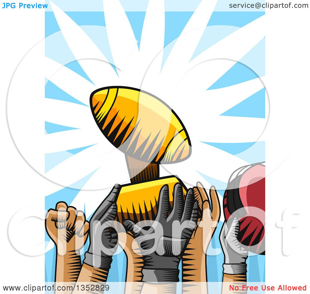Clipart Of Woodcut Football Team Hands Holding Up A Trophy