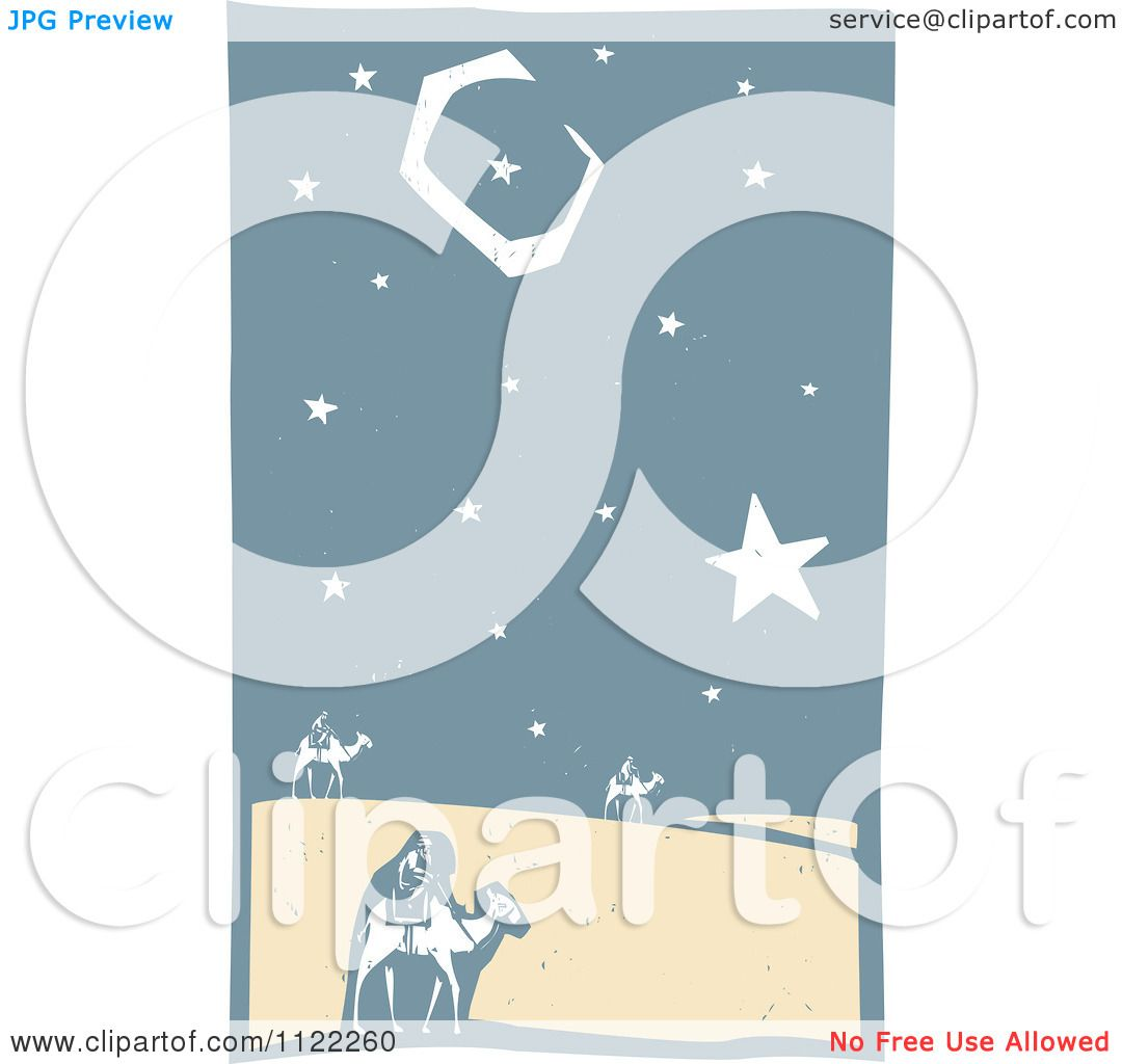 Clipart Of Woodcut Wise Men On Camels In The Desert - Royalty Free ...
