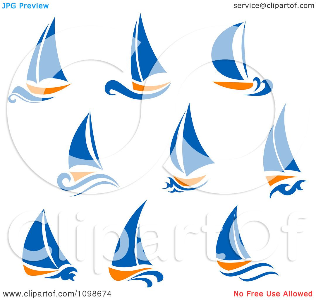 Clipart Orange And Blue Sail Boats Royalty Free Vector Illustration 10241098674