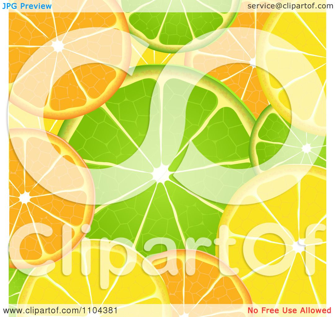 Clipart Orange Lime And Lemon Slice Background - Royalty Free Vector Illustration by ...