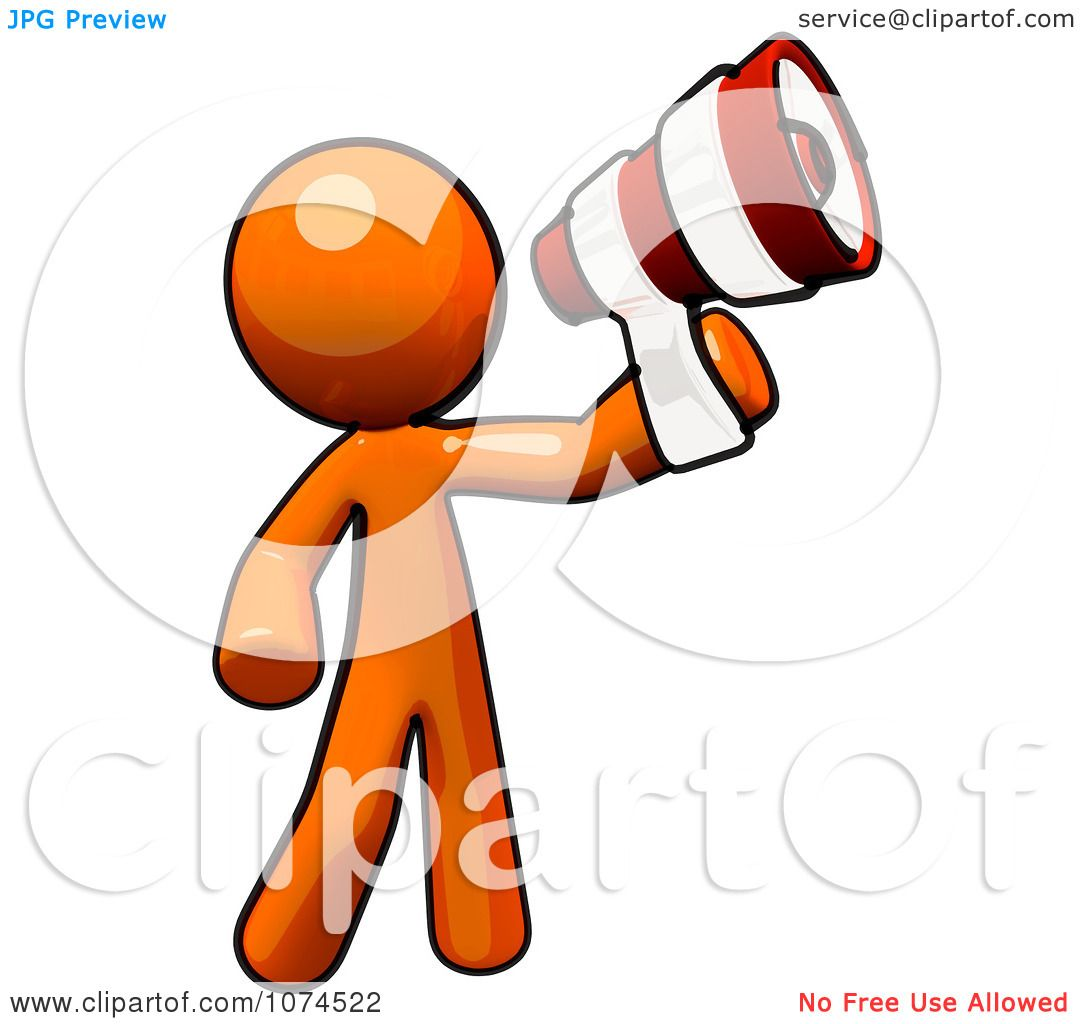 Megaphone Man Clipart Clipart Orange Man Using a