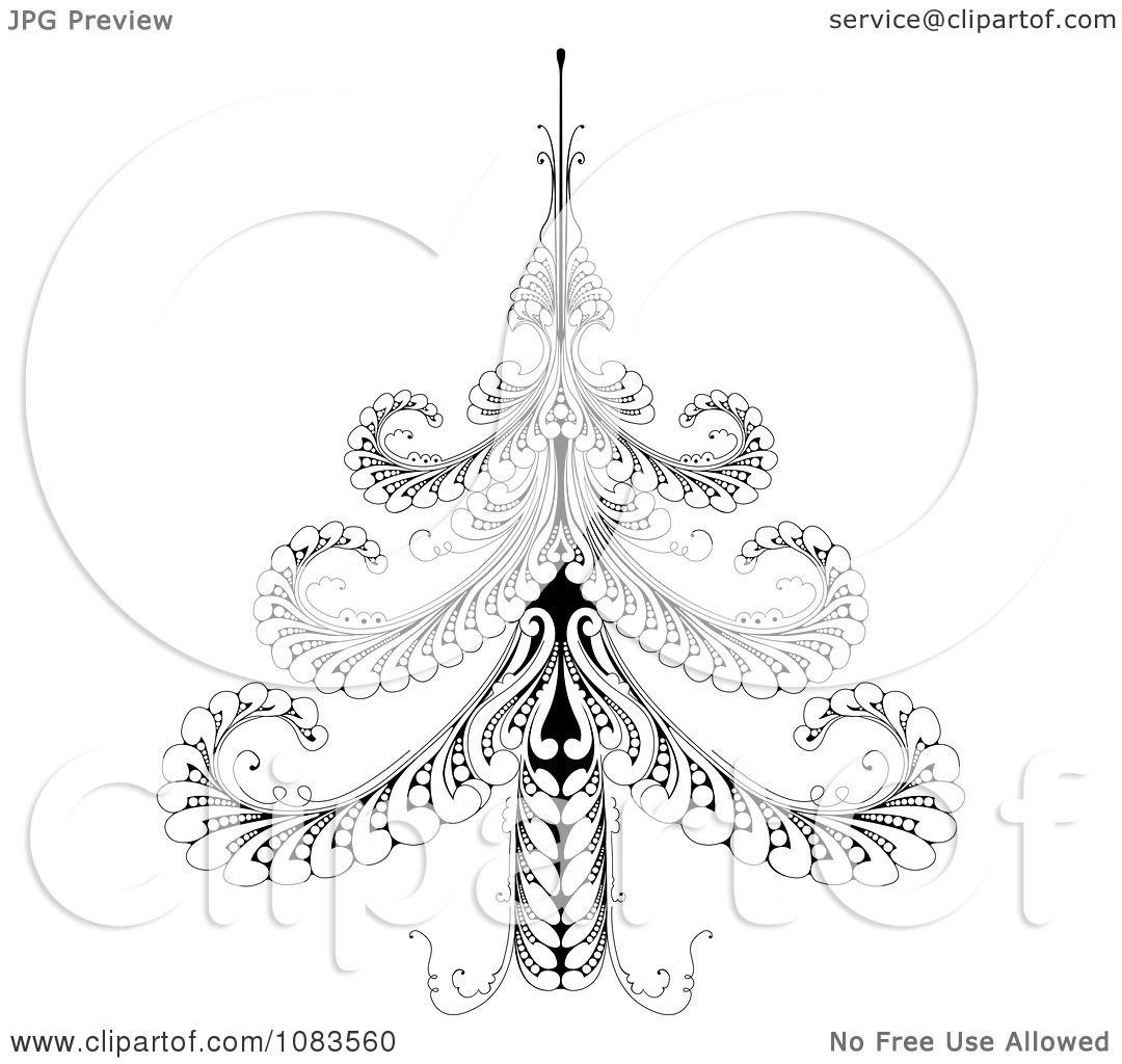 clipart ornate black and white swirl christmas tree royalty free