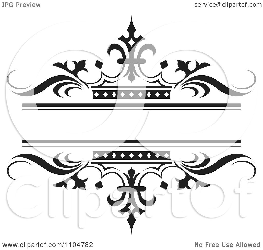 Clipart Ornate Black Wave And Crown