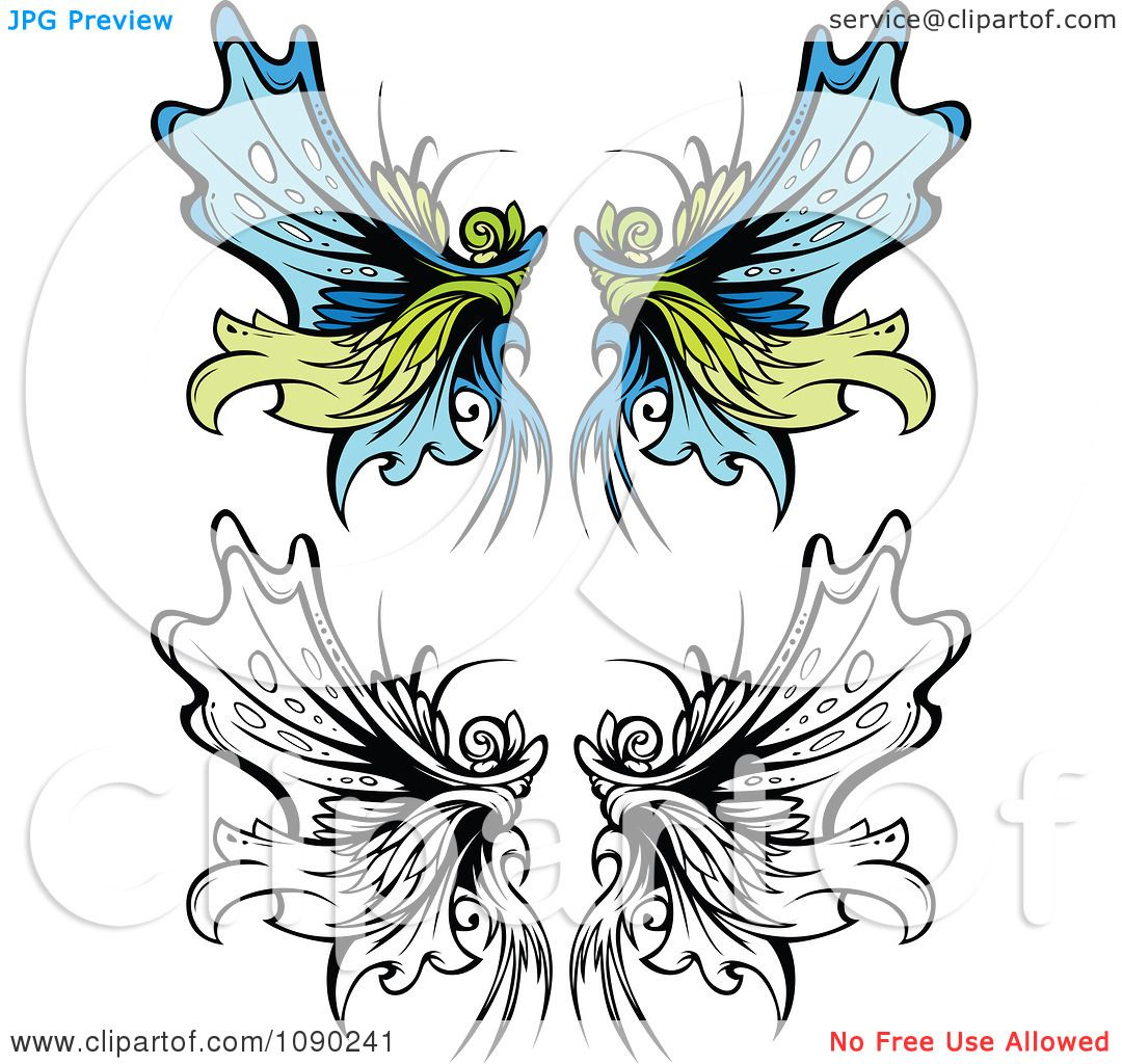 Clipart Ornate Fairy Wings Royalty Free Vector