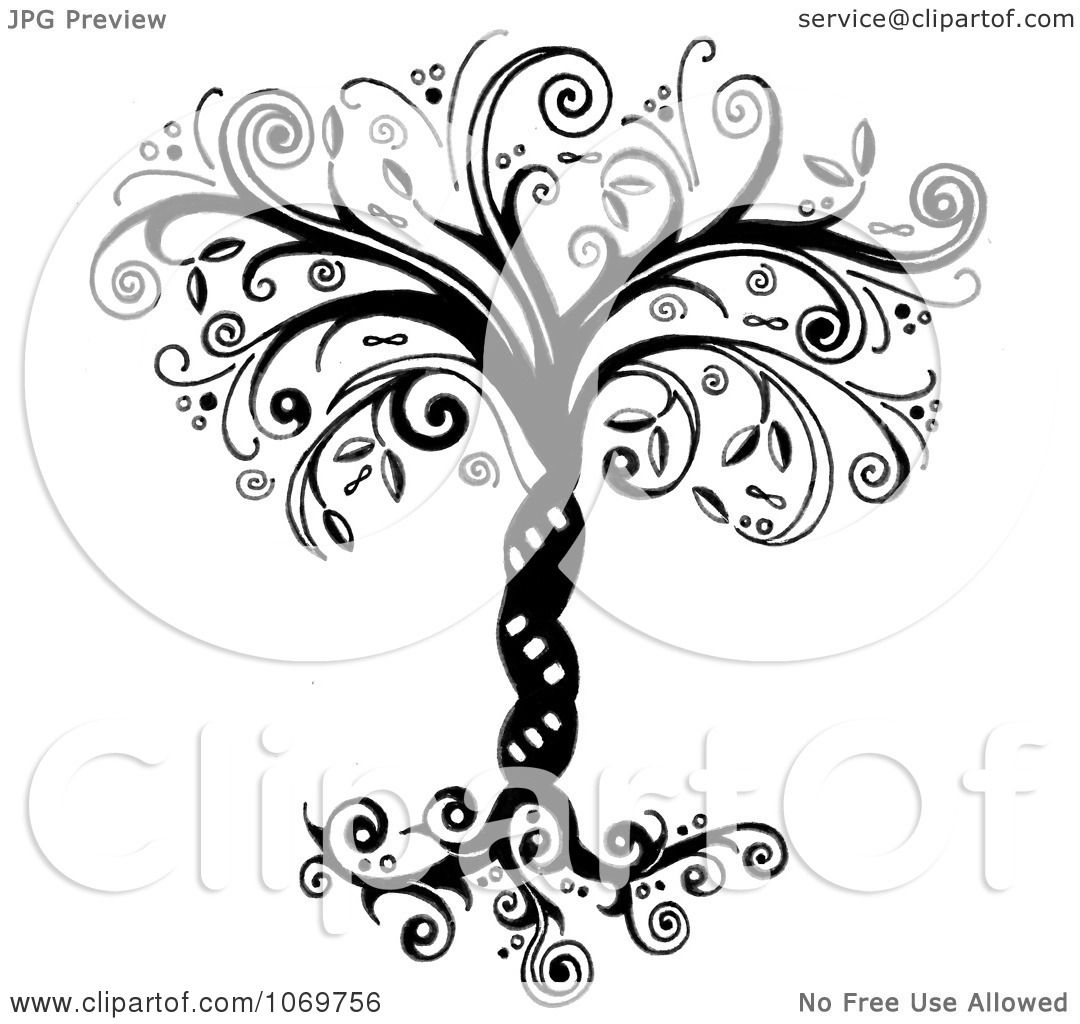 Clipart Ornate Whimsical Tree Of Life In Black And White - Royalty ...