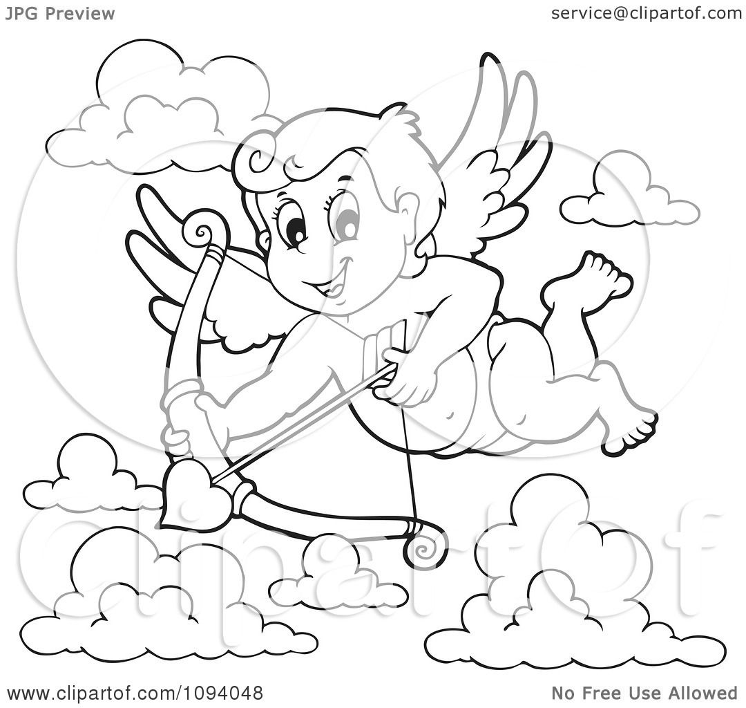 clipart outline of a valentine cupid shooting a heart arrow 1