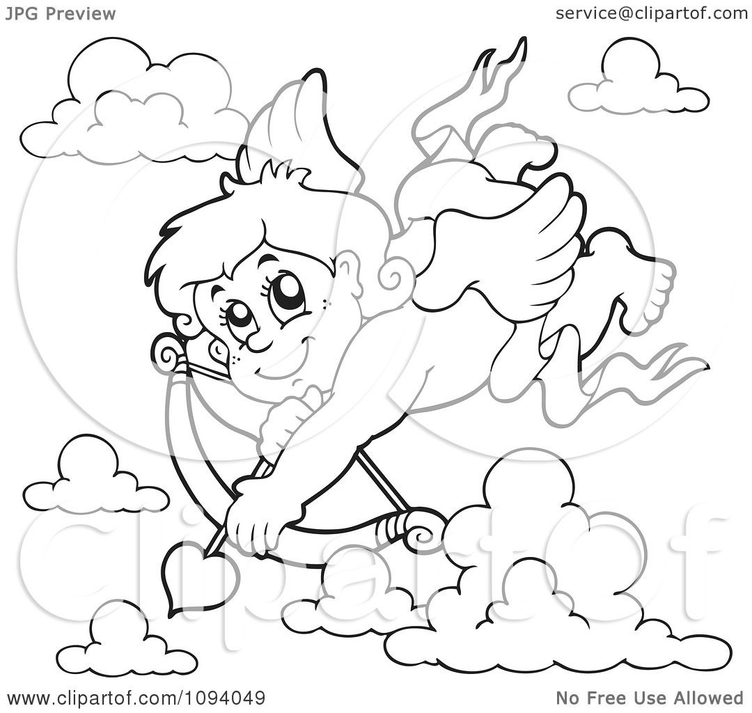 clipart outline of a valentine cupid shooting a heart arrow 2