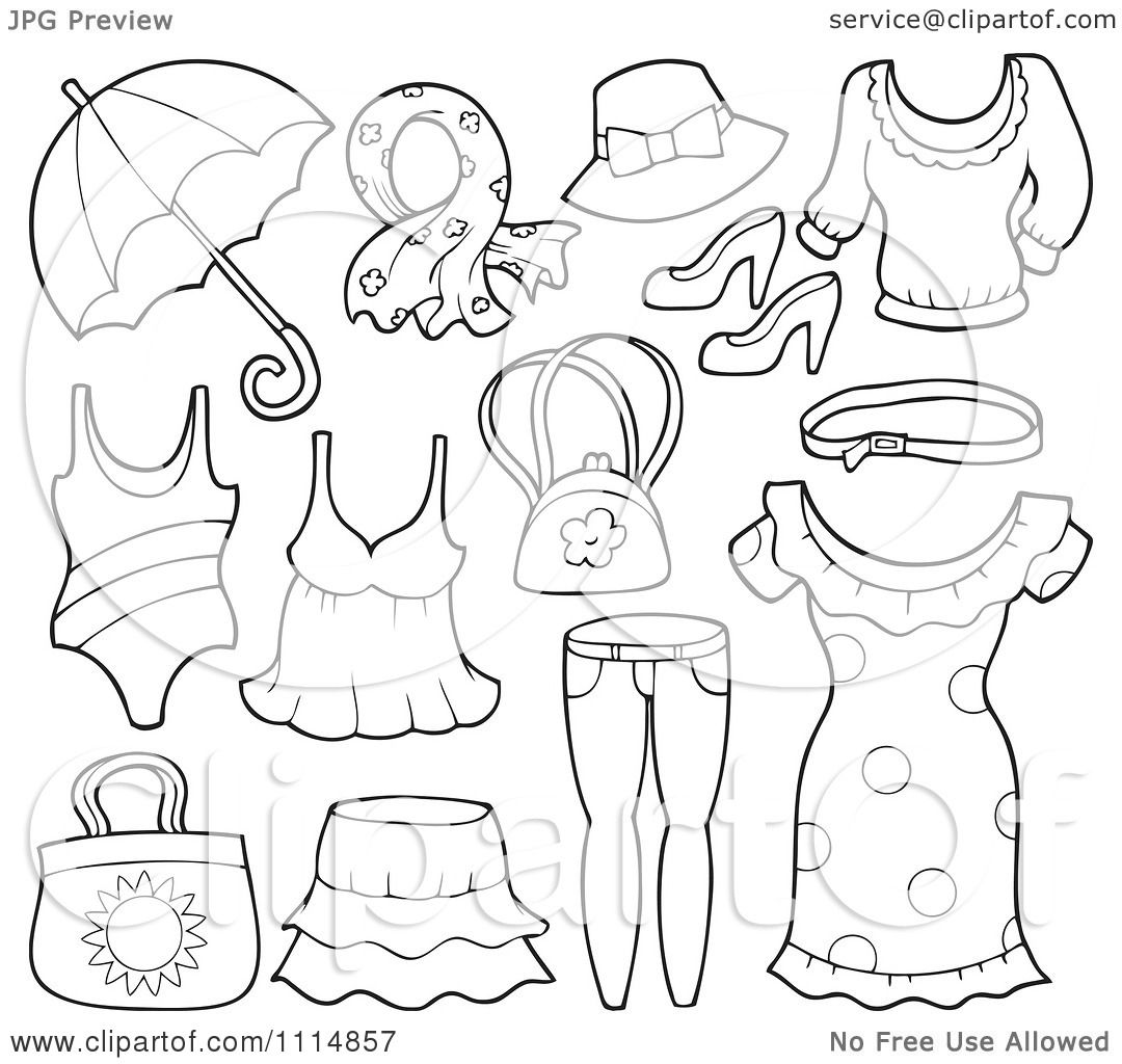 Clipart Outlined Accessories And Clothes 1 - Royalty Free ...