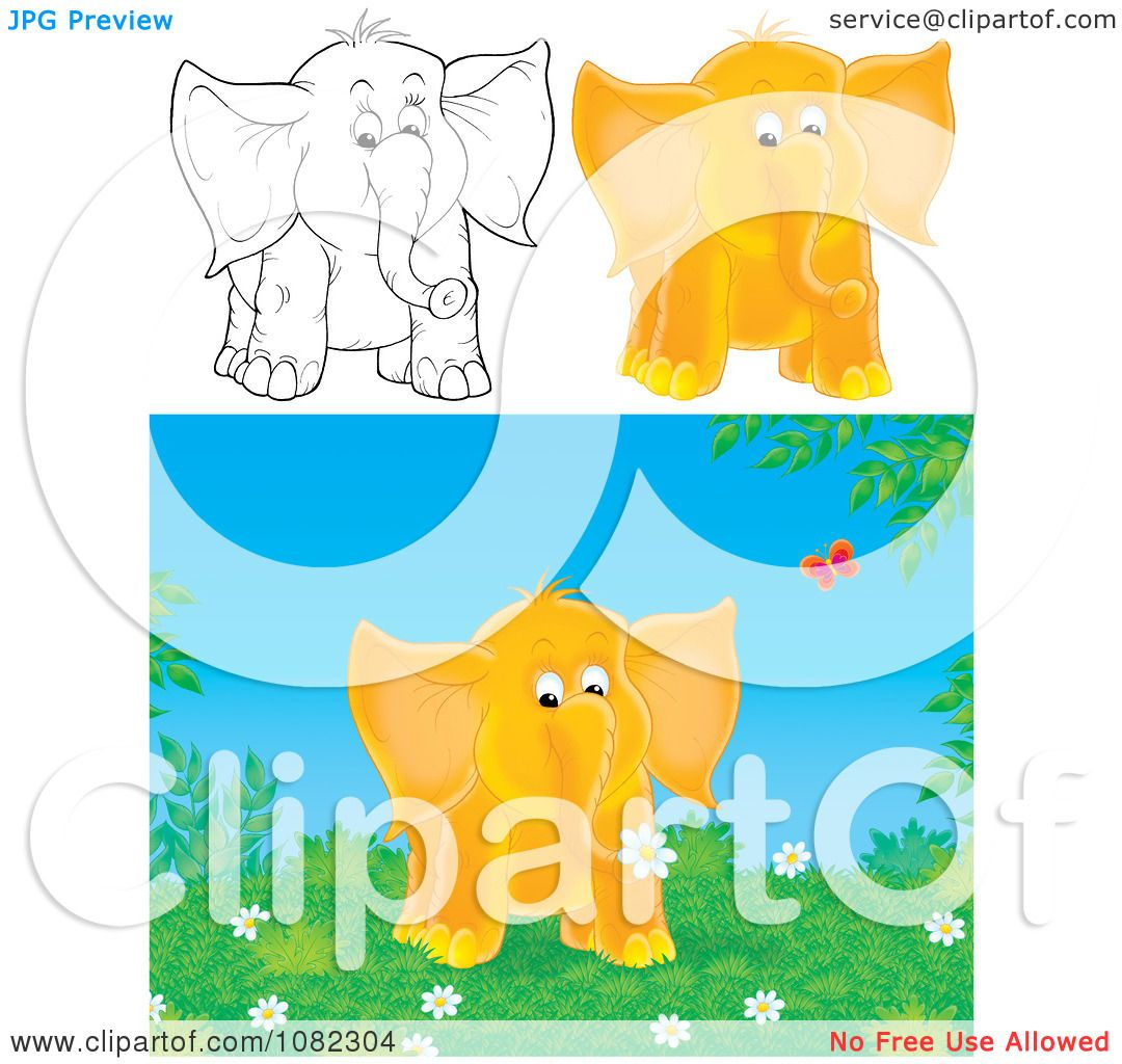 Clipart Outlined And Orange Elephants - Royalty Free ...