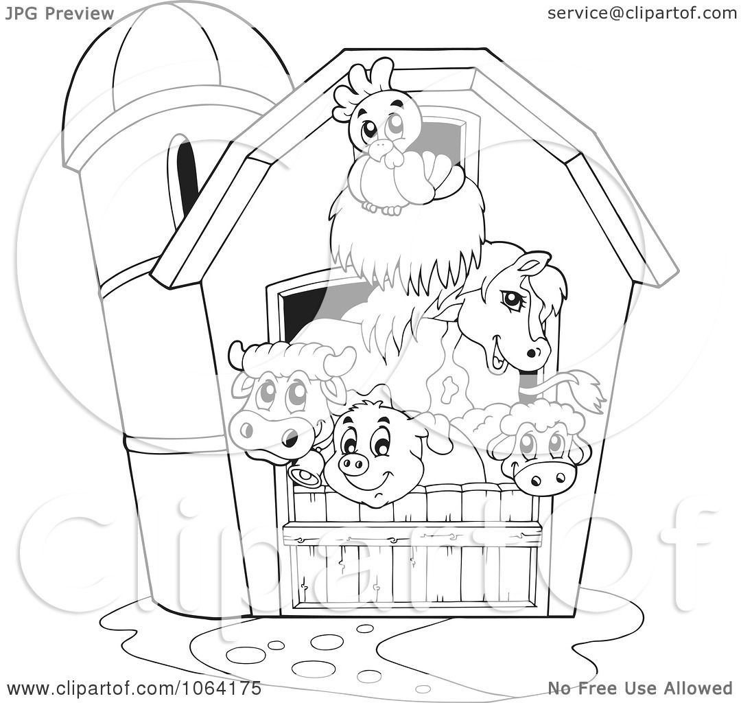 barnyard animal coloring pages | Clipart Outlined Barnyard Animals In A Barn - Royalty Free ...