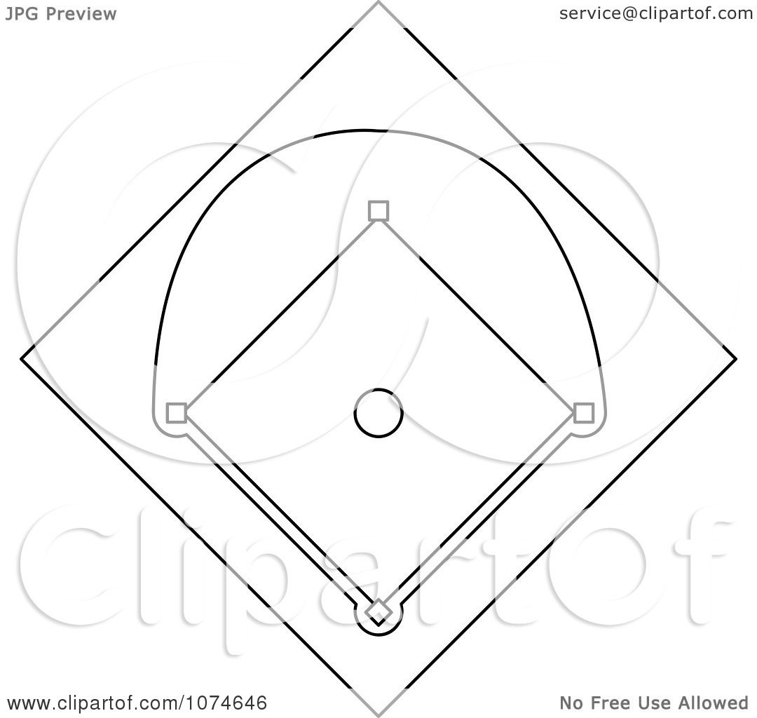 clipart outlined baseball diamond field