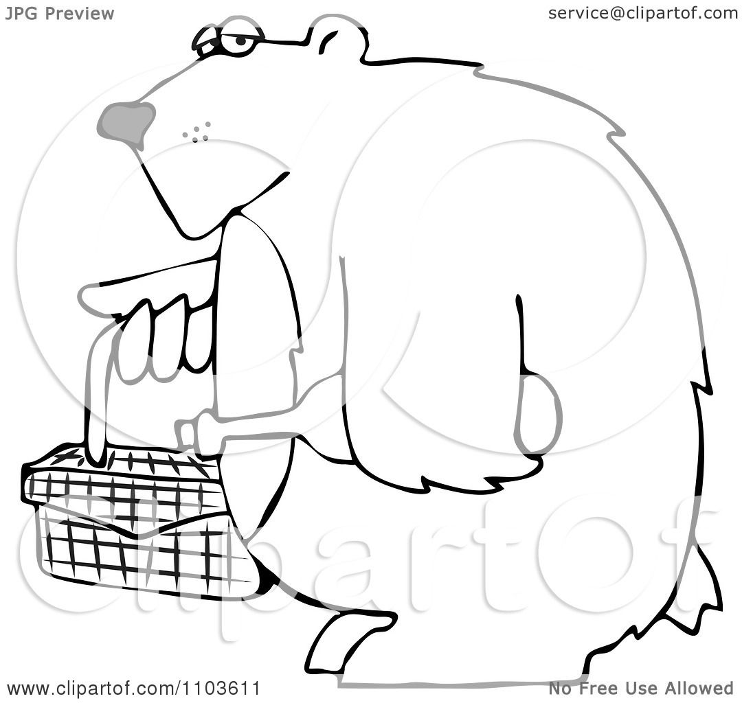 clipart outlined bear carrying a picnic basket and wine royalty