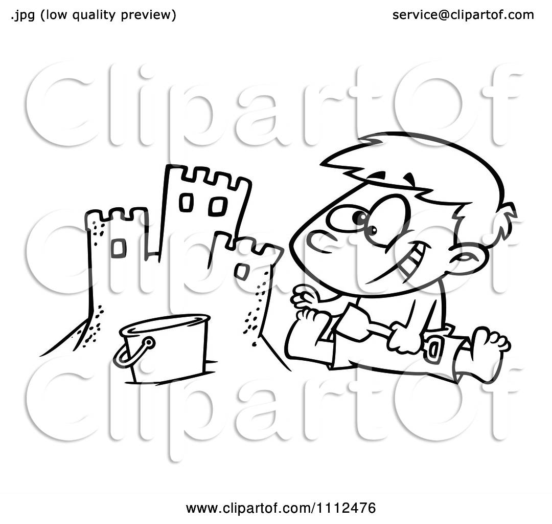 clipart outlined boy making a sand castle on a beach royalty