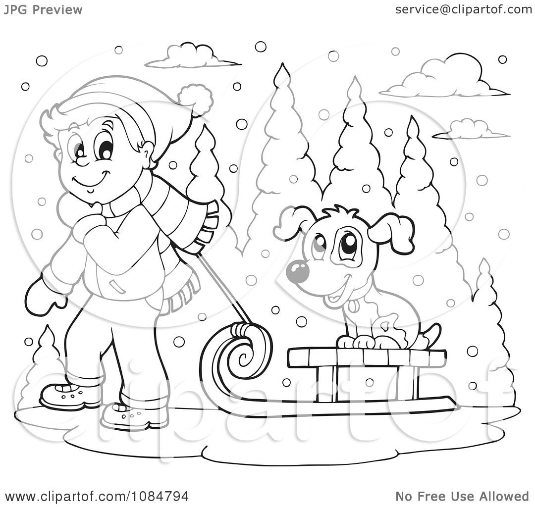 clipart outlined boy pulling a dog on a sled through the snow