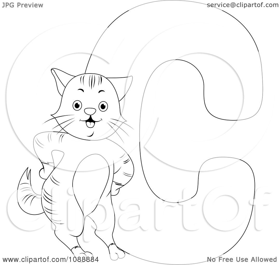 Clipart outlined c is for cat coloring page royalty free for C for cat coloring page