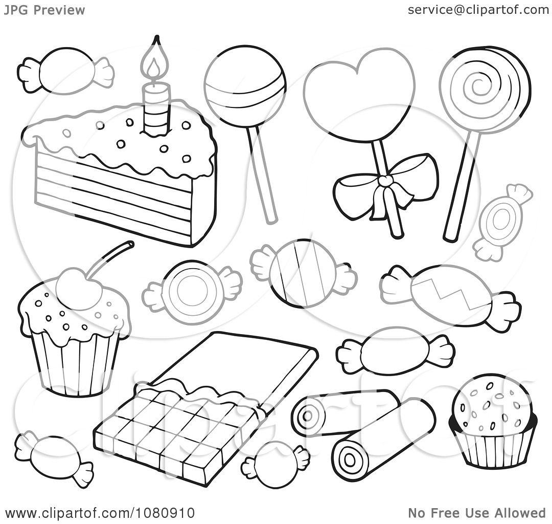 clipart outlined candy and cake