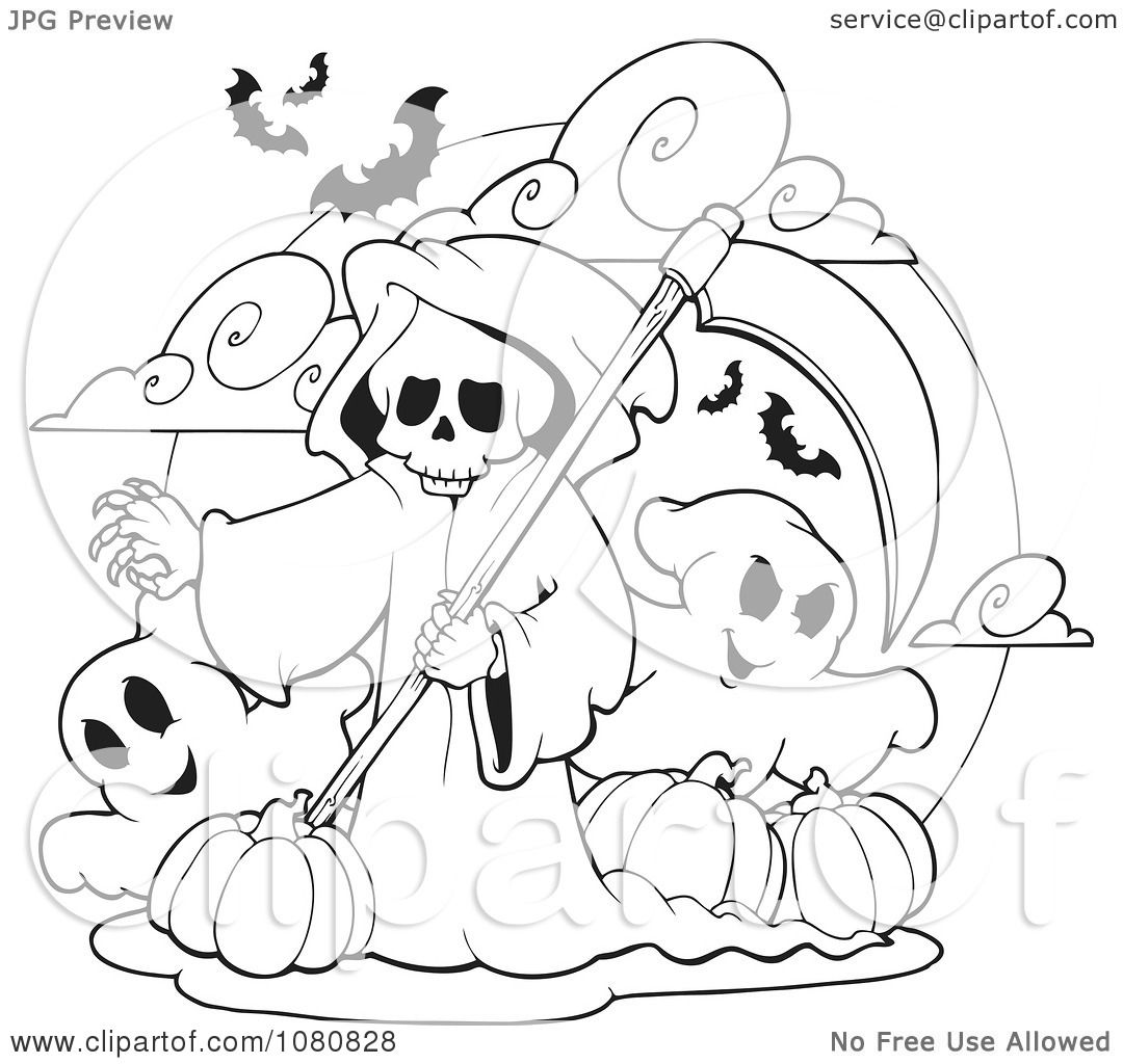 grim reaper coloring pages clipart outlined grim reaper