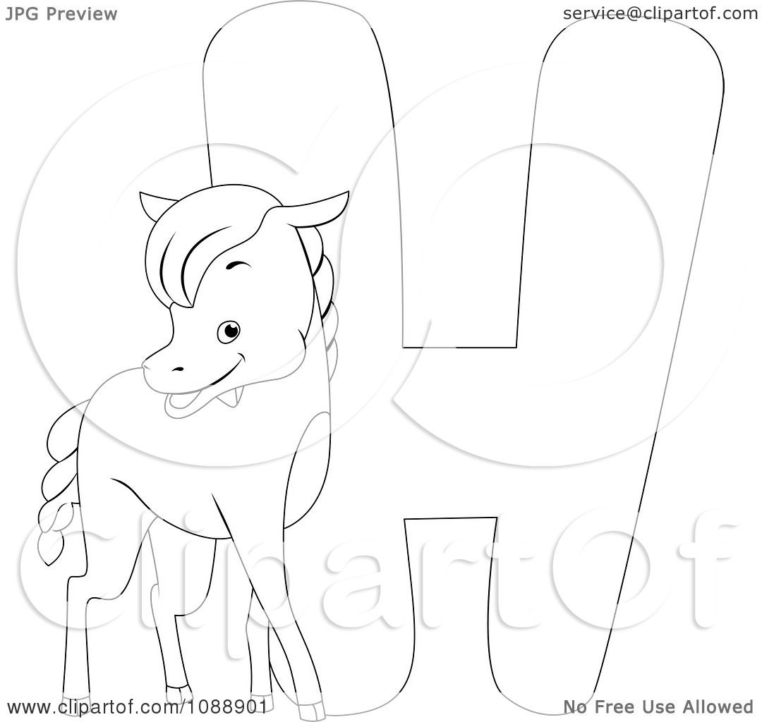 clipart outlined h is for horse coloring page royalty free