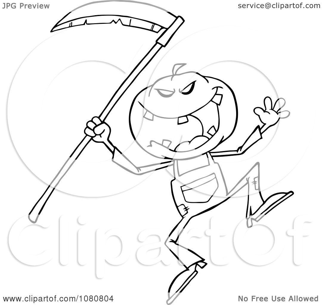 Clipart Outlined Halloween Pumpkin Head Jack With A Scythe